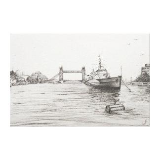 HMS Belfast en el río Támesis London.2006 Lona Envuelta Para Galerías