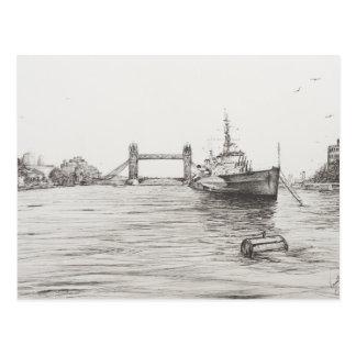 HMS Belfast en el río Támesis London.2006 Tarjeta Postal