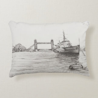 HMS Belfast on the river Thames London.2006 Decorative Pillow