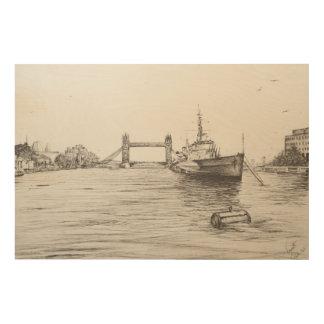 HMS Belfast on the river Thames London.2006 Wood Wall Art