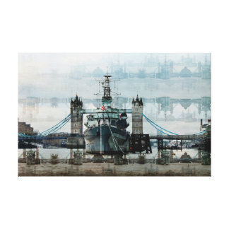 Hms Belfast On The Thames Canvas Print