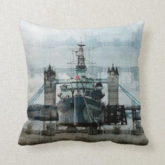 HMS Belfast On The Thames, London England Throw Pillow