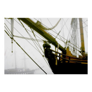 HMS Bounty Tall Ship Emerging from the Mist Poster