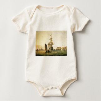 HMS Britannia entering Portsmouth, 1835 Baby Bodysuit