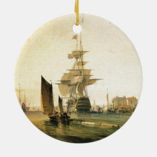 HMS Britannia entering Portsmouth, 1835 Ceramic Ornament