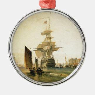 HMS Britannia entering Portsmouth, 1835 Metal Ornament