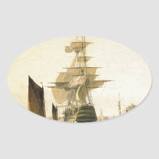HMS Britannia entering Portsmouth, 1835 Oval Sticker