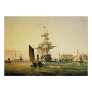 HMS Britannia entering Portsmouth, 1835 Poster