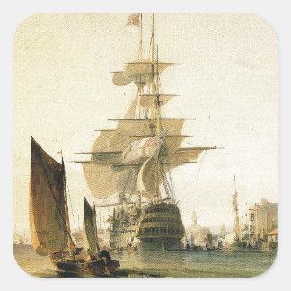HMS Britannia entering Portsmouth, 1835 Square Sticker