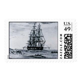 HMS Challenger Postage Vintage Woodcut Lithograph