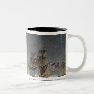 HMS Rinaldo engaging four French Privateers, engra Mug