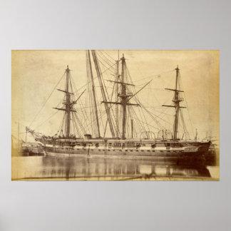 HMS Scylla - buque de guerra real del siglo XIX de Poster
