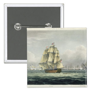 HMS Victory sailing for the French line flanked by 2 Inch Square Button