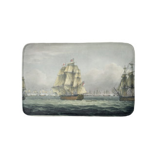 HMS Victory sailing for the French line flanked by Bath Mats