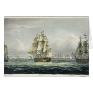 HMS Victory sailing for the French line flanked by Greeting Card