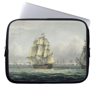 HMS Victory sailing for the French line flanked by Computer Sleeve