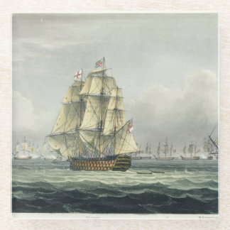 HMS Victory sailing for the French line flanked by Glass Coaster