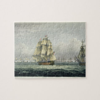 HMS Victory sailing for the French line flanked by Jigsaw Puzzle