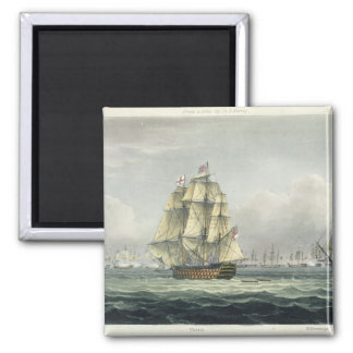 HMS Victory sailing for the French line flanked by Magnet