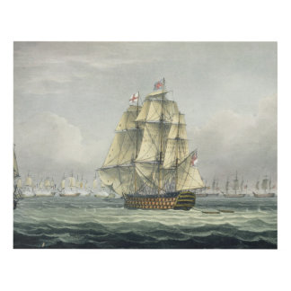 HMS Victory sailing for the French line flanked by Panel Wall Art