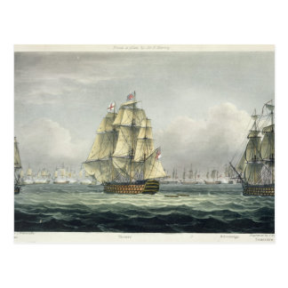 HMS Victory sailing for the French line flanked by Postcard