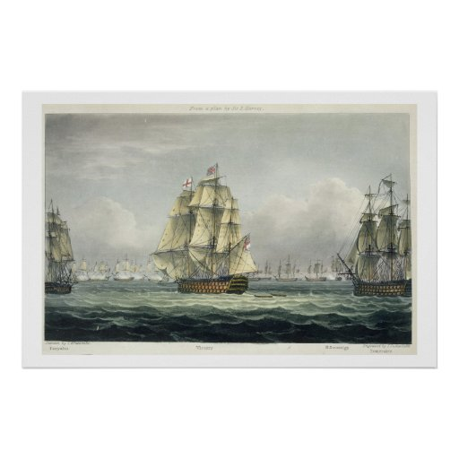HMS Victory sailing for the French line flanked by Posters