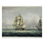 HMS Victory sailing for the French line flanked by Poster