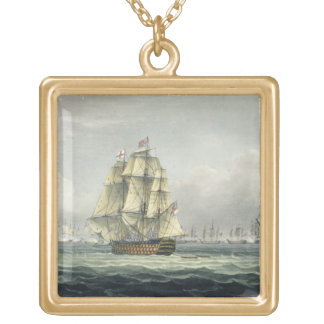 HMS Victory sailing for the French line flanked by Square Pendant Necklace