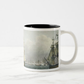 HMS Victory sailing for the French line flanked by Two-Tone Coffee Mug