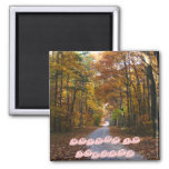 HNF Autumn Lane, AUTUMN IN INDIANA 2 Inch Square Magnet