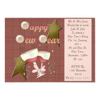 HNY Wine Glasses 5x7 Paper Invitation Card