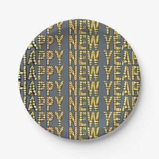 HNY-Yellow-Gld Paper Plate