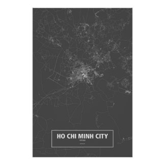 Ho Chi Minh City, Vietnam (white on black) Poster