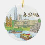 Ho Chi Minh Double-Sided Ceramic Round Christmas Ornament