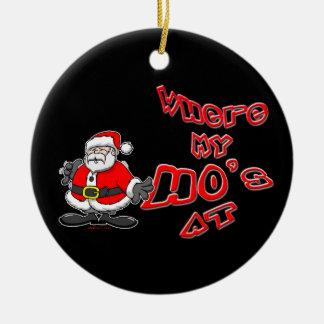 Ho en el ornamento adorno navideño redondo de cerámica