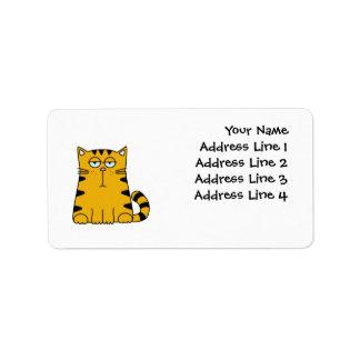 Ho gatito del ronquido etiqueta de dirección