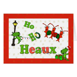 Ho Ho Heaux Santa Alligators and Crawfish Xmas Card