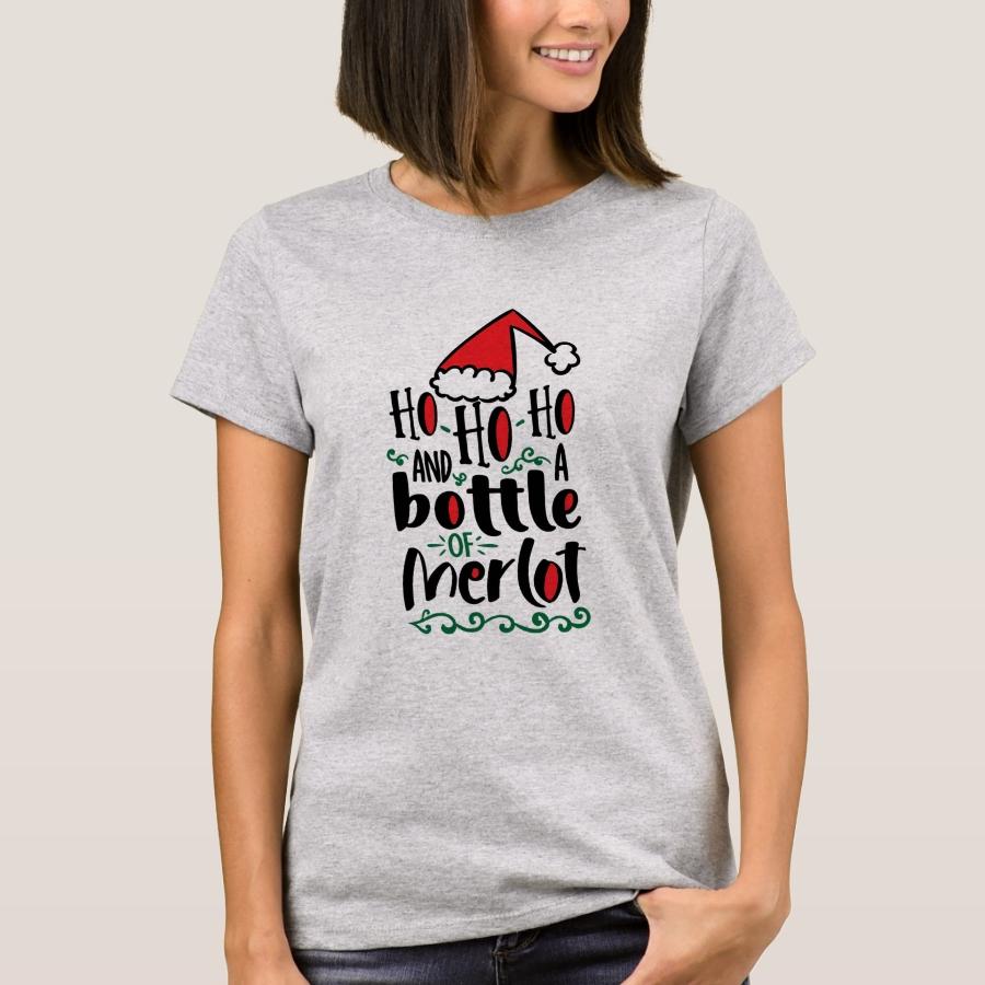 Ho Ho Ho and a Bottle of Merlot Christmas T-Shirt - Best Selling Long-Sleeve Street Fashion Shirt Designs
