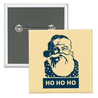 Ho Ho Ho arte pop moderno de Papá Noel Pin Cuadrado