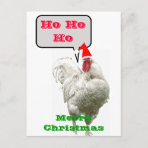 Ho Ho Ho Big Merry Christmas Rooster Postcard