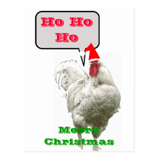Ho Ho Ho Big Merry Christmas Rooster Postcard