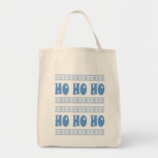 HO HO HO Blue Canvas Bags