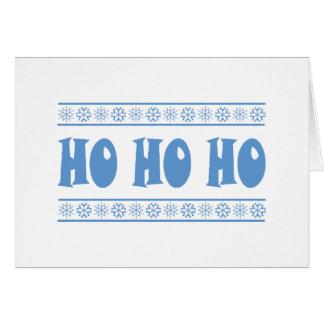 HO HO HO Blue Greeting Card