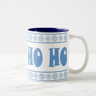 HO HO HO Blue Two-Tone Coffee Mug