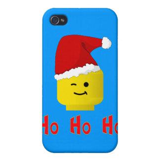 Ho Ho Ho cabeza de Santa Minifig iPhone 4 Carcasa