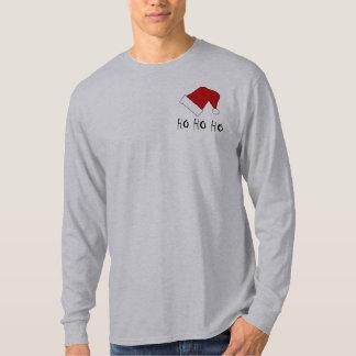 Ho Ho Ho camiseta para hombre del LS del gorra de Playera
