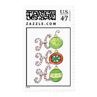 Ho Ho Ho Candy Canes and Ornaments Postage