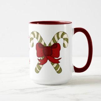 HO HO HO! Candy Canes tied with a Red Bow Mug