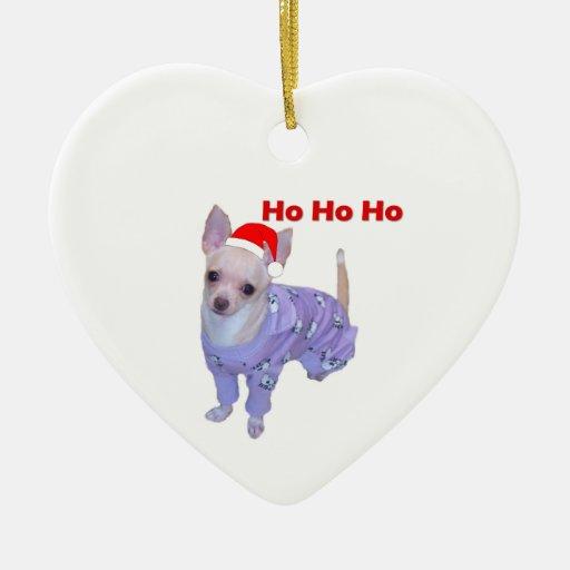 Ho Ho Ho (chihuahua) Adorno Navideño De Cerámica En Forma De Corazón