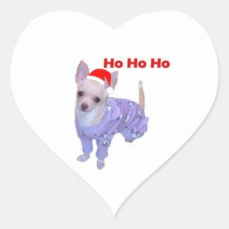 Ho Ho Ho (Chihuahua) Heart Sticker